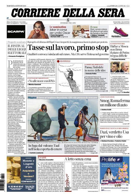 Martedi 14 Gennaio 2020 Prima Pagina La Stampa Nazionale E Internazionale International Web Post International Web Post